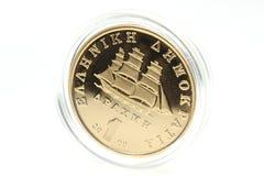 1 drakma guld- mynt Royaltyfri Foto