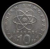 10 drakmor grekiskt mynt arkivfoton