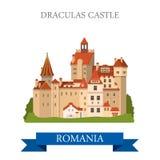 Drakula's Castle Romania Europe flat vector attraction landmark. Drakula's Castle in Romania. Flat cartoon style historic sight showplace attraction web site Stock Image