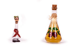 Dram and plum brandy bottle. Decorative bottle and traditional glass for plum brandy Royalty Free Stock Photography