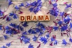 Drama auf den hölzernen Würfeln stockbilder