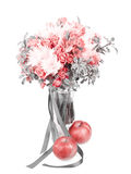 Drama black and white bouquet in a vase with red apple Stock Image