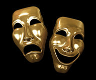 Golden Drama and Comedy Masks royalty free illustration