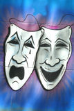 Drama and Comedy Masks. The traditional theater masks, representing drama and comedy Stock Photo