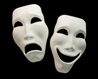 Drama and Comedy Theatre Masks. Theatre masks isolated on black background. Clipping path Vector Illustration