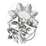 Drama Mask Hibiscus Sampaguita Flower Philippine Sun Tattoo Stock Photo