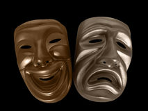 Drama Masks. Theatrical comedy and tragedy masks, isolated on black Stock Photo