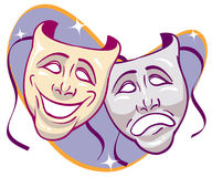 Drama Masks. Sparkled Drama Masks retro expressions Stock Photo