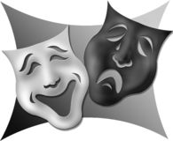 Drama Masks-Black and White. Illustration of comedy and tragedy masks which are a symbol for the theater Stock Images