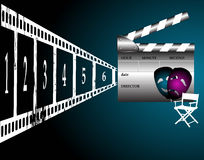 Drama movie. Abstract colorful illustration with clapper board, film strip, director chair and theater masks Stock Image