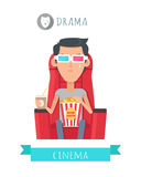 Drama Movie Flat Style Vector Concept Stock Images