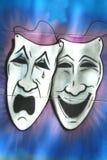 Drama- och komedimaskeringar Arkivfoto