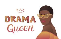 Drama queen banner with black woman stock illustration