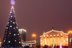 Drama Theater of the city of Gomel in the New Year`s time stock image