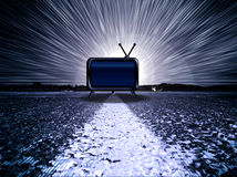 Drama TV. Retro tv on pavement with burst behind stock photography
