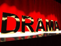 Drama Word On Stage Representing Stock Images