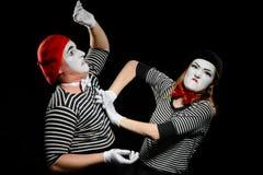 Drama zwischen zwei Pantomimen stockbild