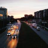 dramat nocy malownicza droga kołysa niebo obraz stock