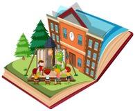 Dramat sztuka przy szkołą na otwartej książce ilustracji