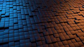 Dramatic Abstract 3D Background. Of a field of tiled cubes lit by a blue and orange light Royalty Free Stock Photo
