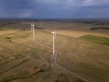 Dramatic aerial view of wind turbines in Oklahoma royalty free stock photography
