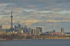 Dramatic afternoon light and December Toronto skyline Royalty Free Stock Image
