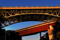 Dramatic angle of a bridge Royalty Free Stock Images