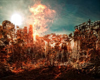 Dramatic apocalyptic scenario. 3D background of an apocalyptic scenario with buildings burning Stock Image