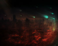 Dramatic apocalyptic scenario. 3D background of an apocalyptic scenario with buildings burning Royalty Free Stock Photos