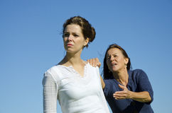 Dramatic argument between mother and daughter. royalty free stock photography