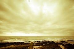 Dramatic Atlantic coast at low tide. Tinted Royalty Free Stock Photo