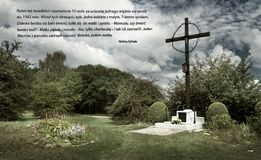 The place of mass grave in the former German concentration camp Plaszow, Poland. Dramatic atmosphere above Hujowa Gorka in the former German concentration camp royalty free stock photography