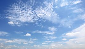 Dramatic atmosphere panorama view of beautiful morning blue sky. Dramatic atmosphere panorama view of beautiful morning blue sky and clouds background in royalty free stock photo