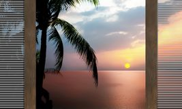 Dramatic atmosphere panorama view of beautiful sunset sky and cl. Ouds view of ocean and silhouette coconut trees with open wooden sliding window from the Stock Photography