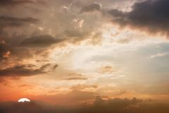 Dramatic atmosphere panorama view of beautiful twilight sky and stock photo