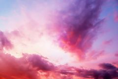 Dramatic atmosphere panorama view of colorful fantasy twilight sky. stock images