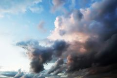 Dramatic atmosphere panorama view of fantasy summer twilight tropical sky. stock photography