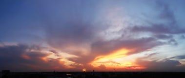 Dramatic atmosphere panorama view of twilight sky. Royalty Free Stock Photos