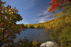 Dramatic autumn leaves along shore of pond, Lincoln, New Hampshi Stock Images