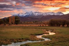 Dramatic autumn sunset image in the Wasatch Back, Utah USA. royalty free stock photography