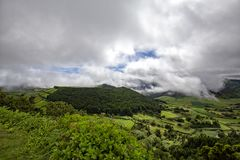 Dramatic Azores Cloud Show. A dramatic cloud show above the Sete Cidades caldera in Sao Miguel, Azores royalty free stock photo