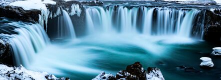 Dramatic panorama of Godafoss waterfall in Iceland in winter