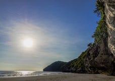 Dramatic beautiful sunrise at Pranburi beach and Khao Kalok stock image