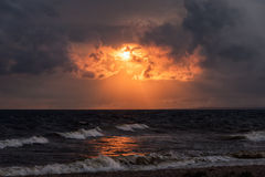Dramatic beautiful sunset over the sea Royalty Free Stock Photography