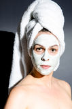 Dramatic Beauty. Image of a model wearing a beauty mask with  dramatic lighting Royalty Free Stock Photography