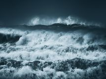 Dramatic big waves with dark stormy weather Royalty Free Stock Photo