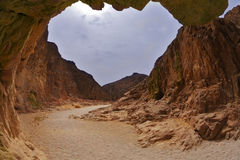 Dramatic Black canyon in Israel Stock Images