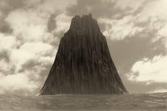 Dramatic Black Rock Island Landscape in Ocean. 3d Rendering. Dramatic Black Rock Island Landscape in Ocean extreme closeup. 3d Rendering Stock Images