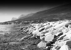 Dramatic black and white Norway beach background royalty free stock photography