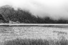 Dramatic Sao Miguel Island. Dramatic black and white view of Lagoa Verde in Sao Miguel stock photography